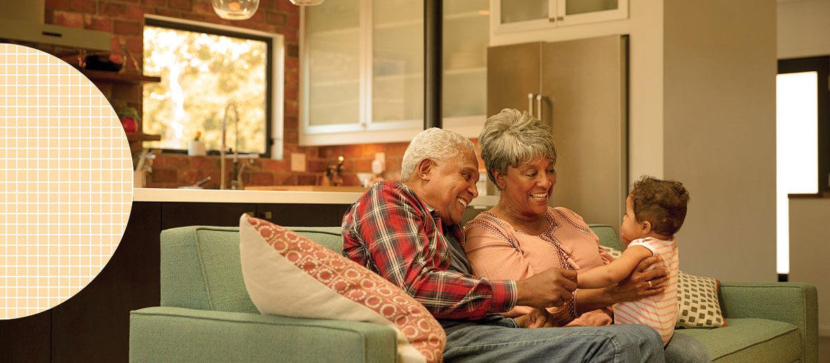 Elderly couple with their grandkid