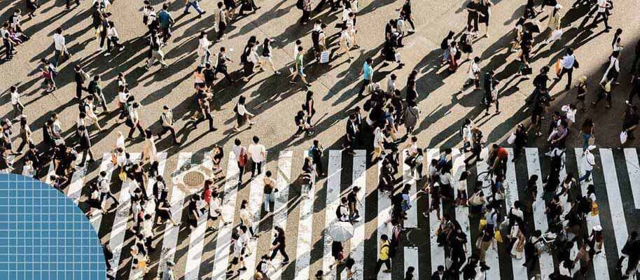Sky view of a crowded street