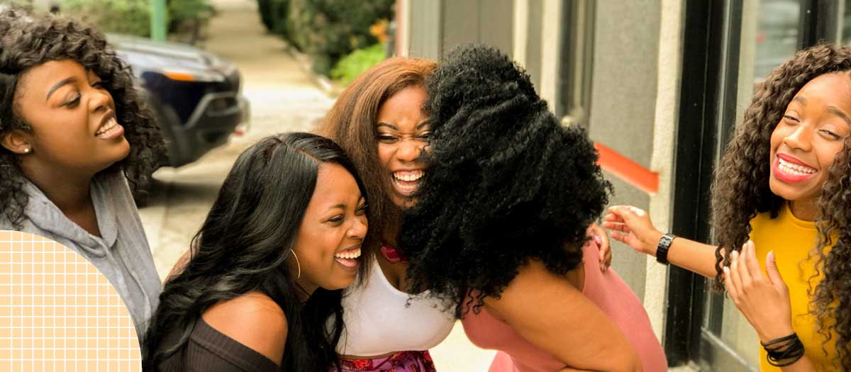 Group of girls laughing and smiling