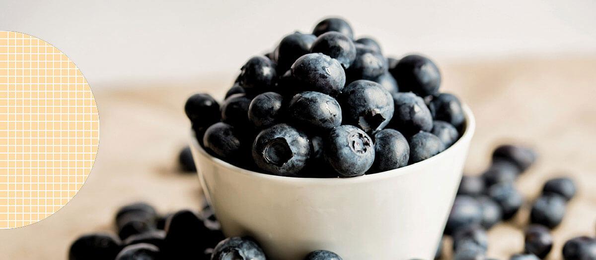 Big overflowing bowl of blueberries