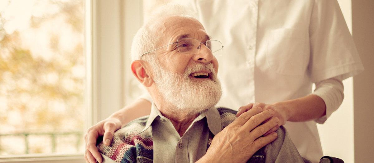 Senior man and his caretaker