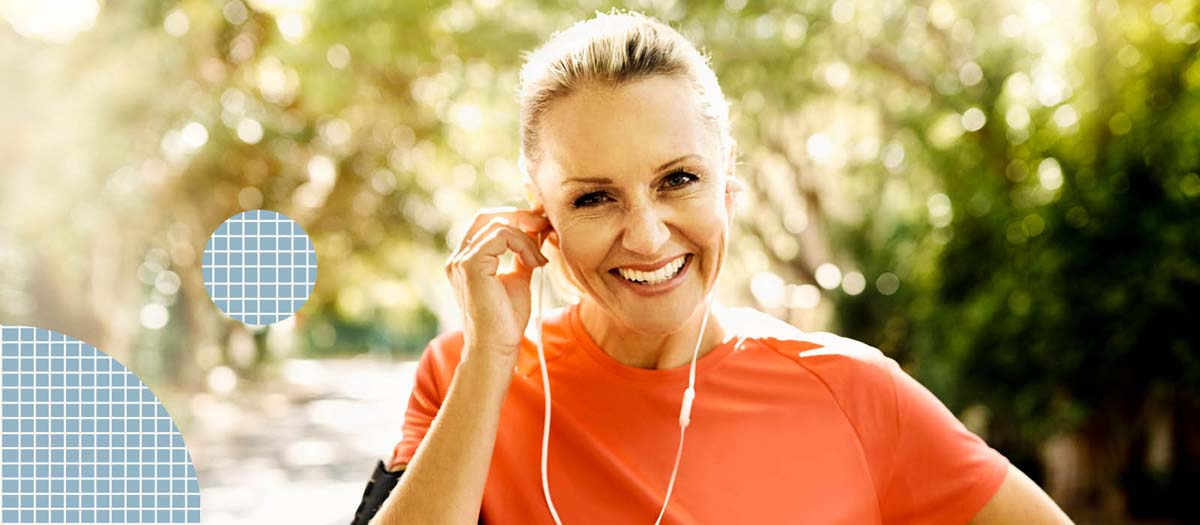 Woman going for a run with headphones