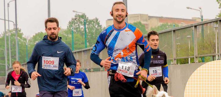 Healthy people running a marathon