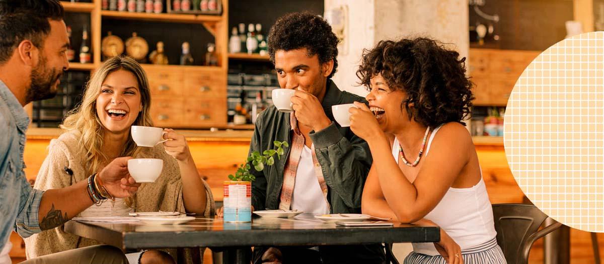 Group of millennials at a coffee shop