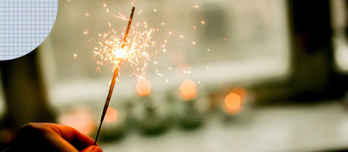 Sparkler sparkling on new years eve