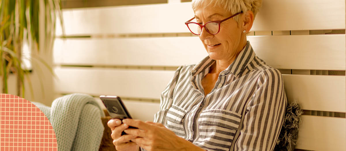 Retired woman researching on her phone